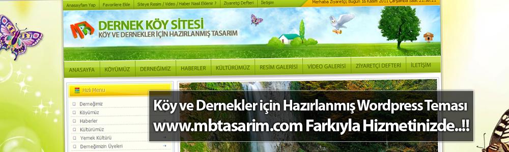 Köy ve Dernekler için Hazırlanmış WordPress Teması www.mbtasarim.com Farkıyla Hizmetinizde..!!