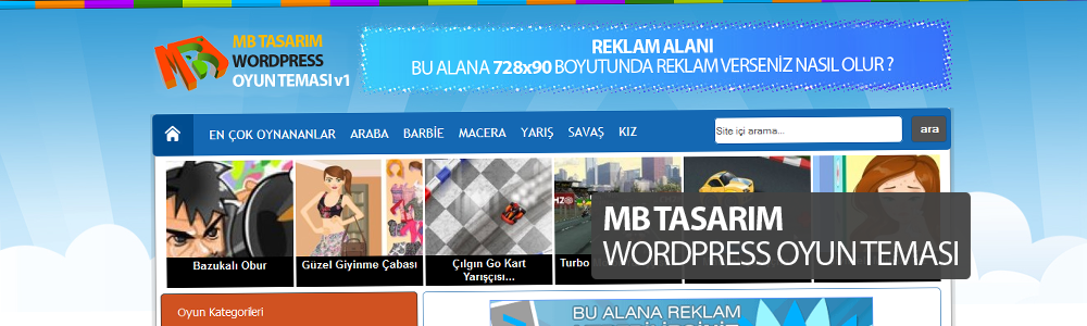 WordPress Oyun Teması – Reklam Alanlarına Doyamayacaksınız..!!
